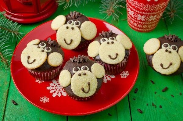 Новый год 2016: Кексы в виде обезьянок