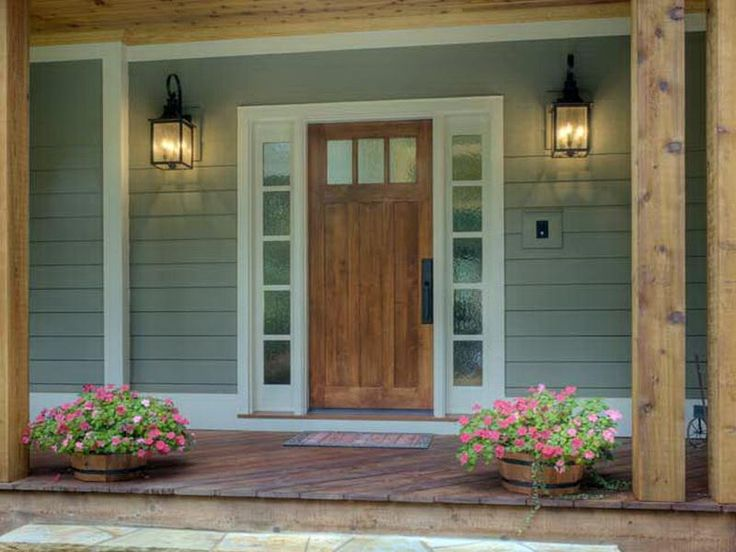 Front Entry Doors Fiberglass with Sidelights Design