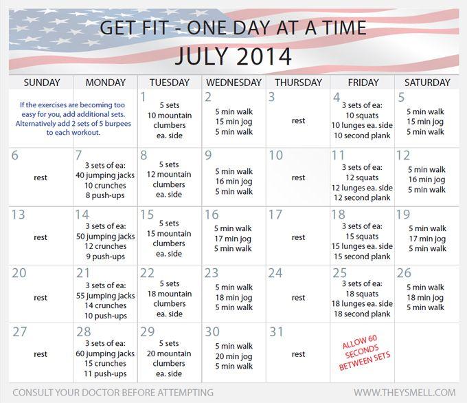Календарь тренировок для похудения