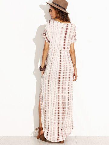 Gracila Snake Print Dyeing Split Short Sleeve V-neck Maxi Dress For Women