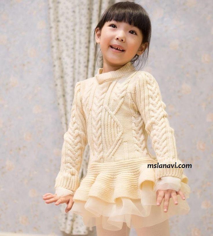 Детское вязаное платье спицами http://mslanavi.com/2015/10/detskoe-vyazanoe-plate-spicami/