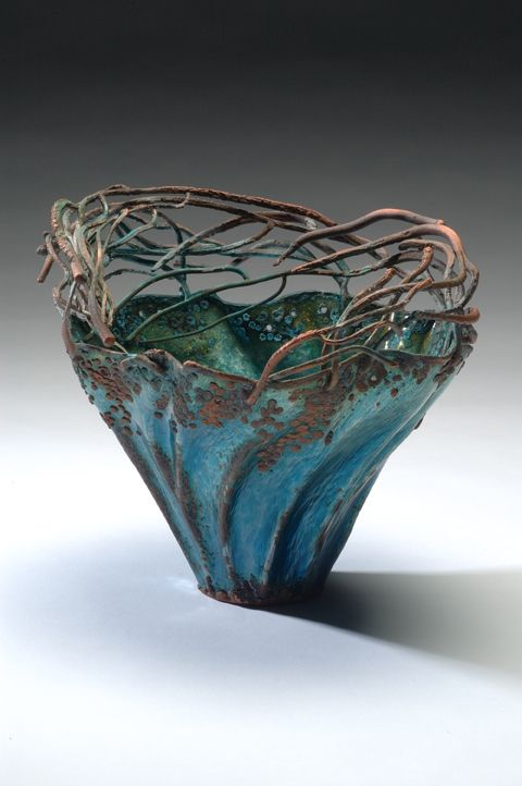 Melissa Manley,   Raised & electroformed copper vessel,  vitreous enamel - wow. Like sea and sky