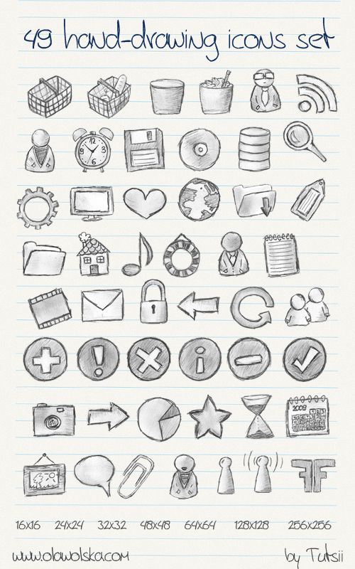 49 Hand-drawing Icons [] by Aleksandra Wolska aka Ola, Poland