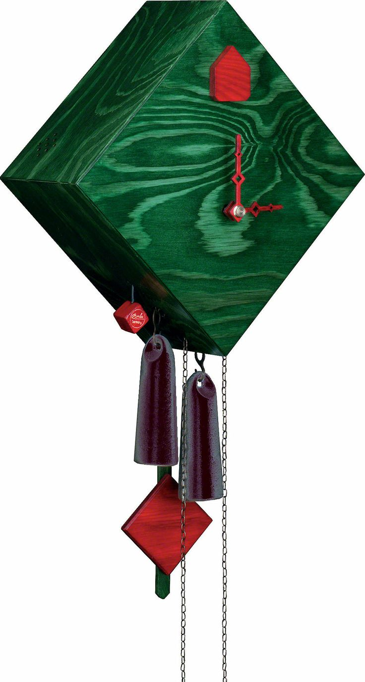 Beautiful modern Cuckoo Clock in Christmas colors. Handmade in the Black Forest.