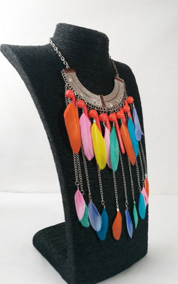 Tribal borla collar de plumas étnica alineado por MyBohoJewerly