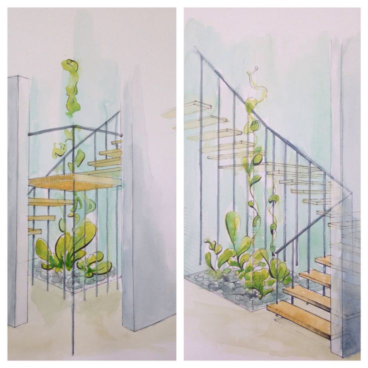 Stairs & green space  Watercolor technique