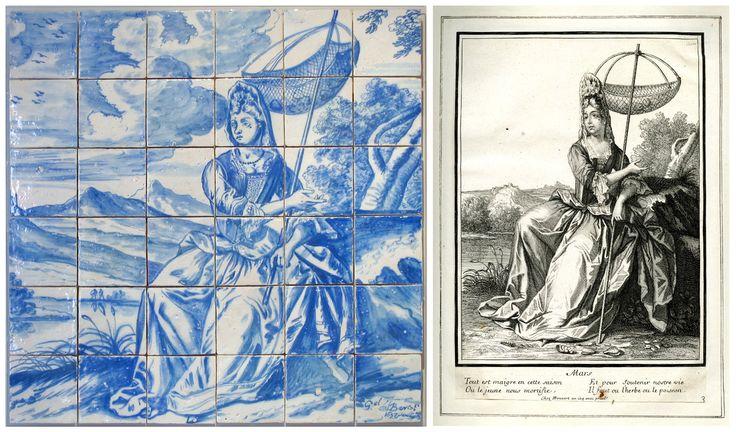 [esquerda / left] Gabriel del Barco | 1697 | Museu Nacional do Azulejo [em depósito] [direita / right] Twelve Months / Mars | British Museum | Museum number: 1922,0410.145 | © The Trustees of the British Museum [goo.gl/jus2WJ] #Azulejo #AzulejoDoMês #AzulejoOfTheMonth #Flores #Flowers #GabrielDelBarco #MNAz #BritishMuseum