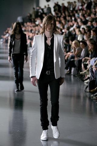 Dior Homme Spring 2005 Menswear  Now this was Dior Homme was rocking! When Hedi Slimane was designing the collection it was nothing but sickening, sickening, sickening! Now...yawn,yawn, yawn