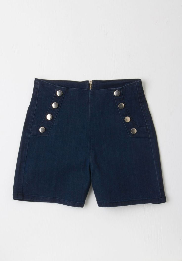 Sailorette the Seas Shorts in Dark Wash. Get in touch with the tides - and your retro charm - by wearing these high-waisted denim shorts! #blue #modcloth