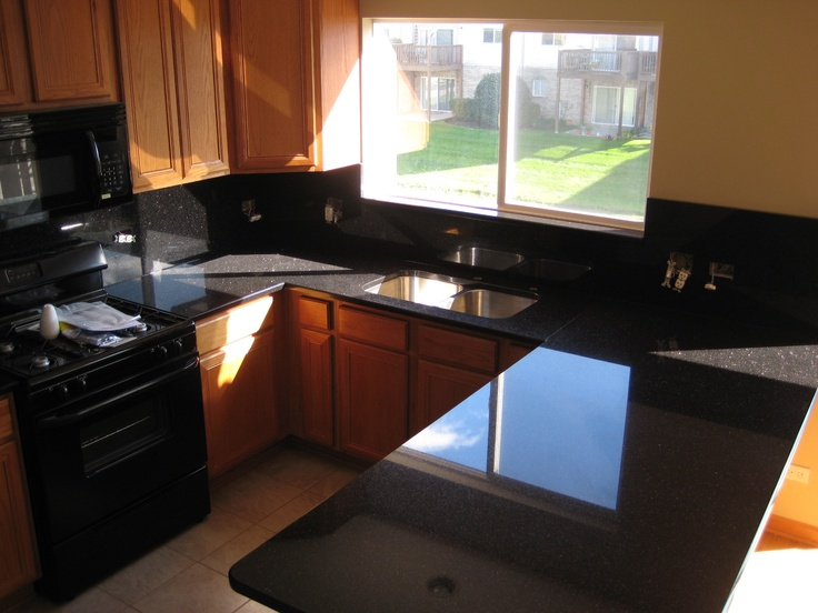 Granite Black Galaxy With Full Height Backsplashes Done On