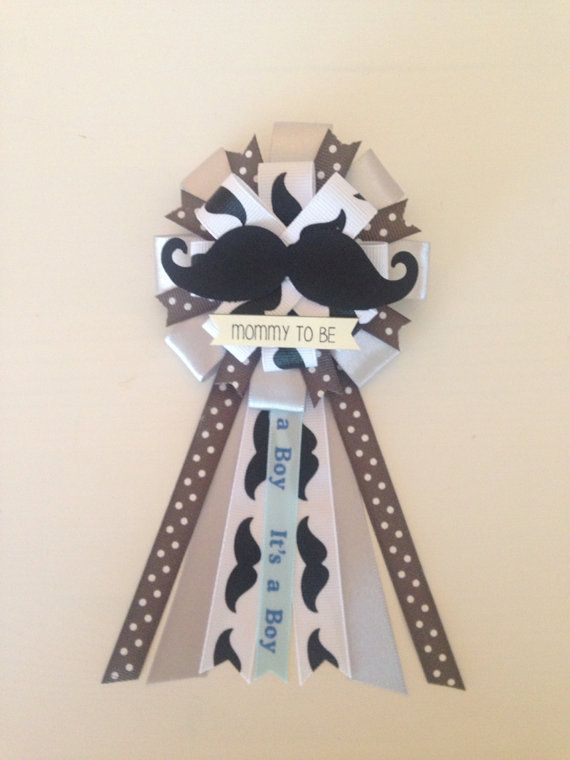 Mommy to be ribbon corsage for baby shower - it's a boy - baby boy - little man - mustache by KatrinaInvites