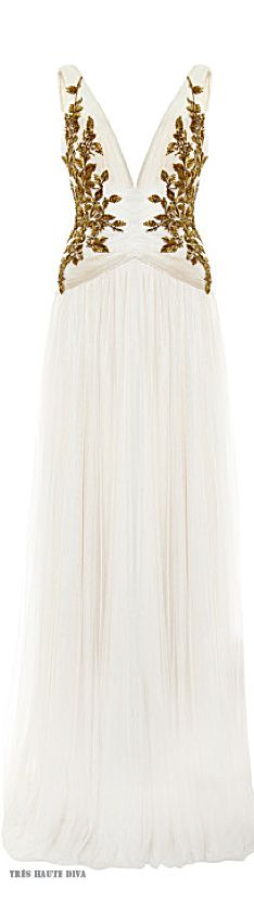 Marchesa Ivory Chiffon Embroidered Bodice Gown ♔ Resort 2015