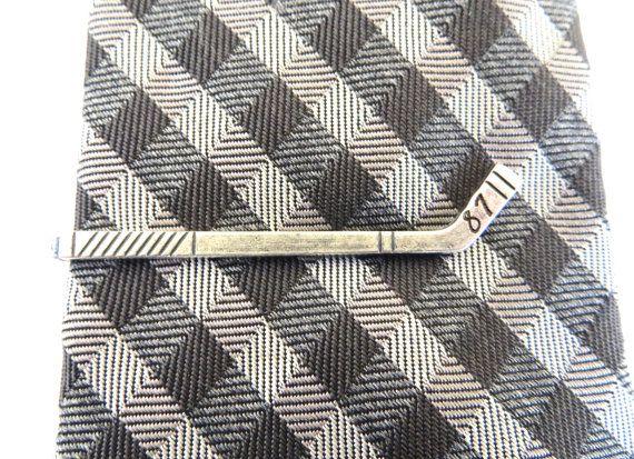 Customized Hockey Stick Tie Clip- Hockey Tie Bar- Vintage Style- Groomsmen Gift- Valentines Gift- Silver or Brass Finish- Handstamped