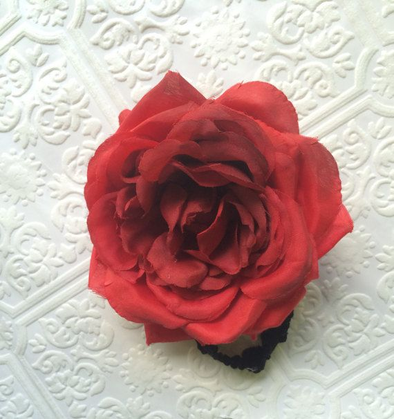 Rose headband big rose headband red headband red by BazzyBears