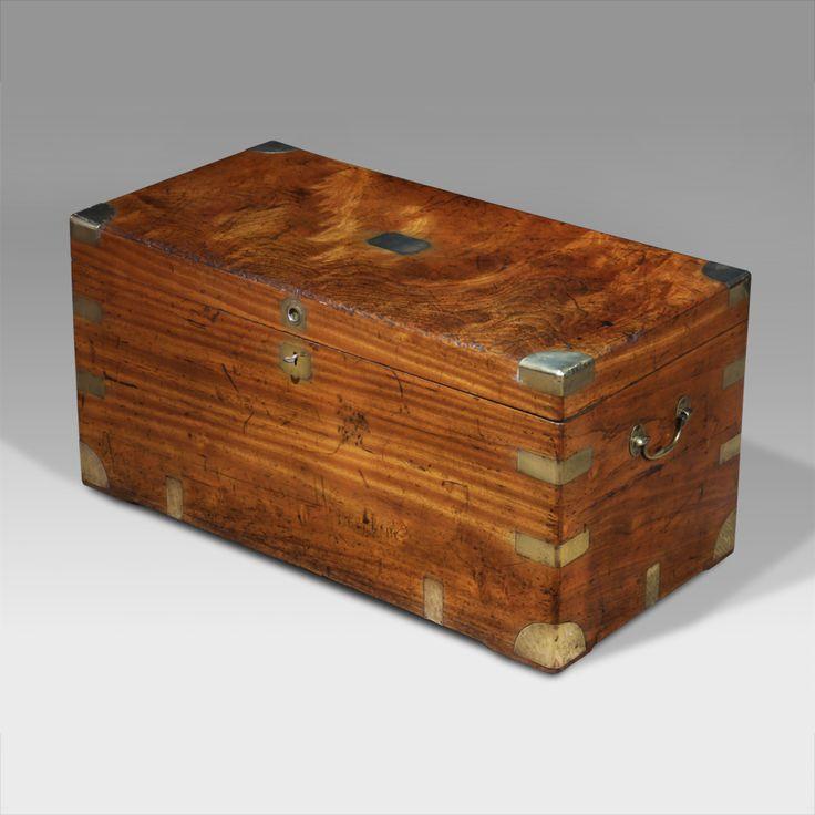 19th century brass bound camphor wood chest