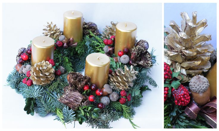 Classic Christmas Centerpiece with candles. Corona Avvento. Decorazioni Natalizie Roma: www.laflorealedistefania.it #fioristaroma #decorazioninatale #laflorealedistefania #fattoamano #handmade #christamsdecorations #christmaswreath #christmas2016 #xmas2016 #homedecor #florist #flowerarrangements