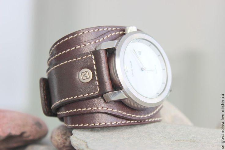 """Купить Часы на широком кожаном ремешке """"В подарок"""" - коричневый, белый, часы наручные купить"""