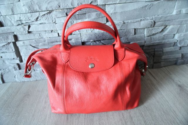 Longchamp Le Pliage cuir orange