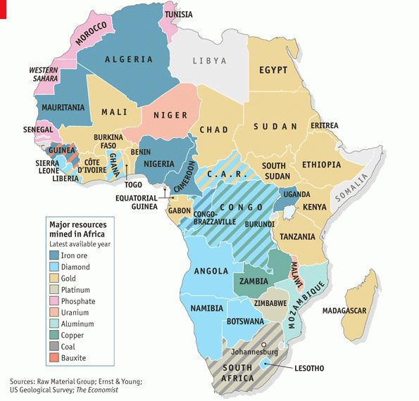 Principales recursos mineros de África