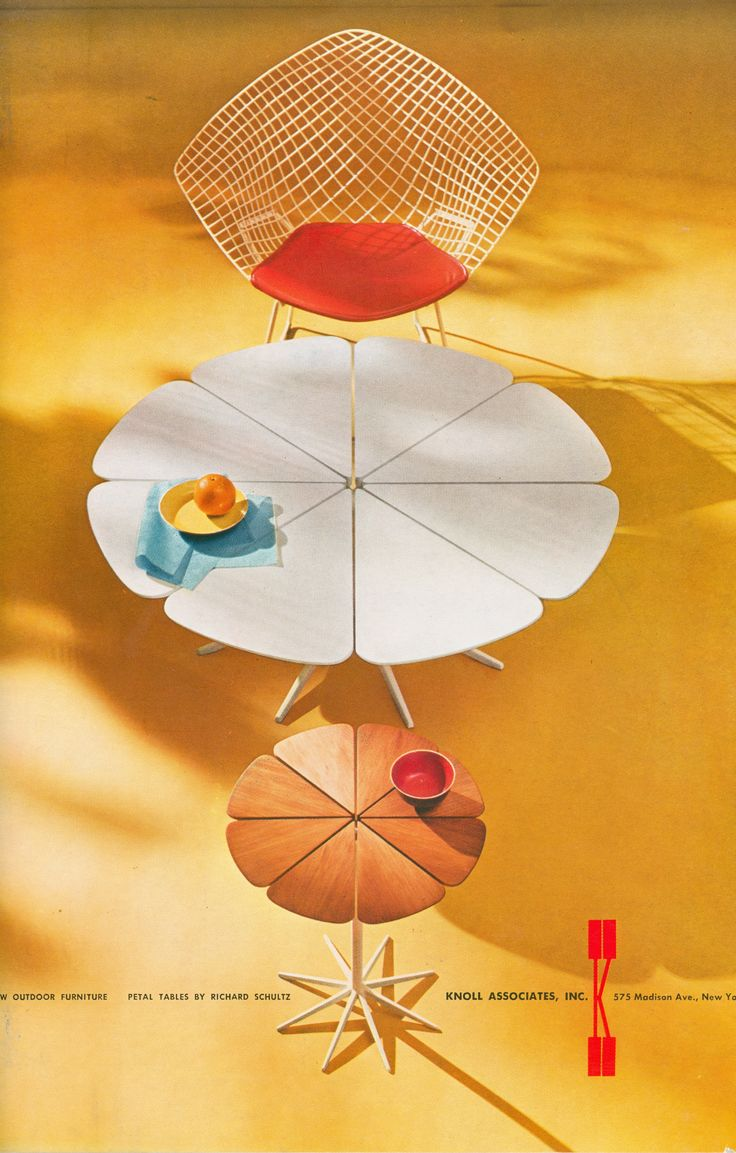 Bertoia diamond chair vintage -  Schultz Petal Table And Bertoia Diamond Chair Advertisement By Herbert Matter For Knoll