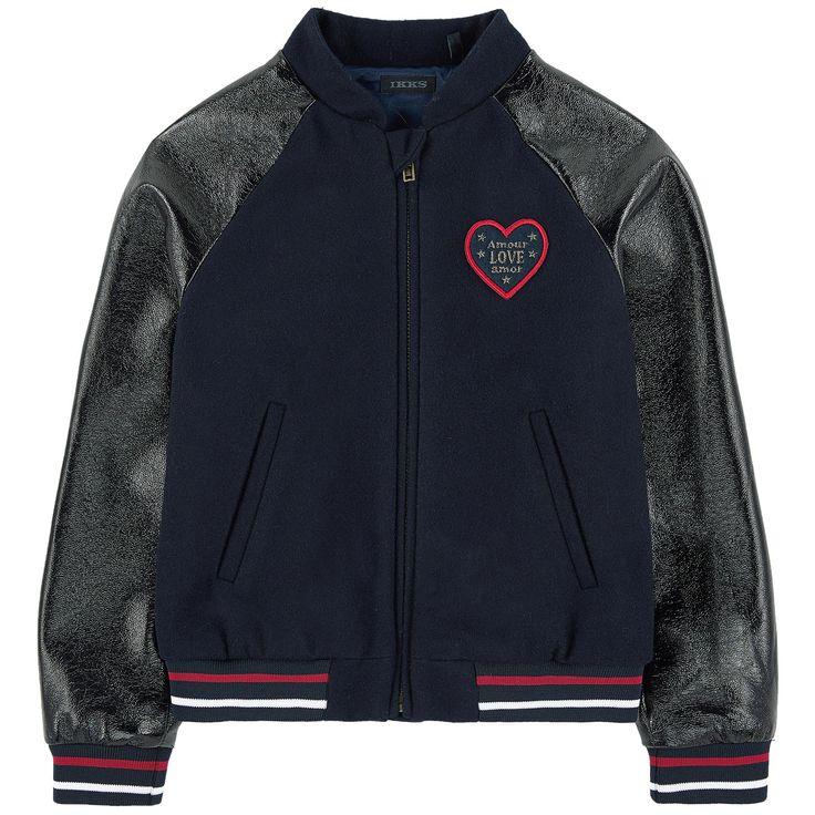 Right side: Wool blend cloth Sleeves: Synthetic fabric   Silk lining Windbreaker A perfect mid-season item Raglan long sleeves Tightened cuffs and waistband Ribbed knit trims Stripes Slant pockets Zipper on the front Anti-pinch strap Badge on the chest - $ 108,84
