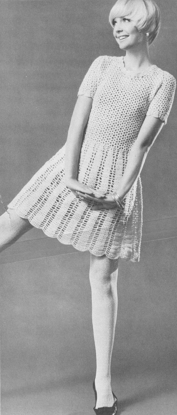 Vintage 1960s Crochet Dolly Dress Pattern PDF 6713 by cemetarian