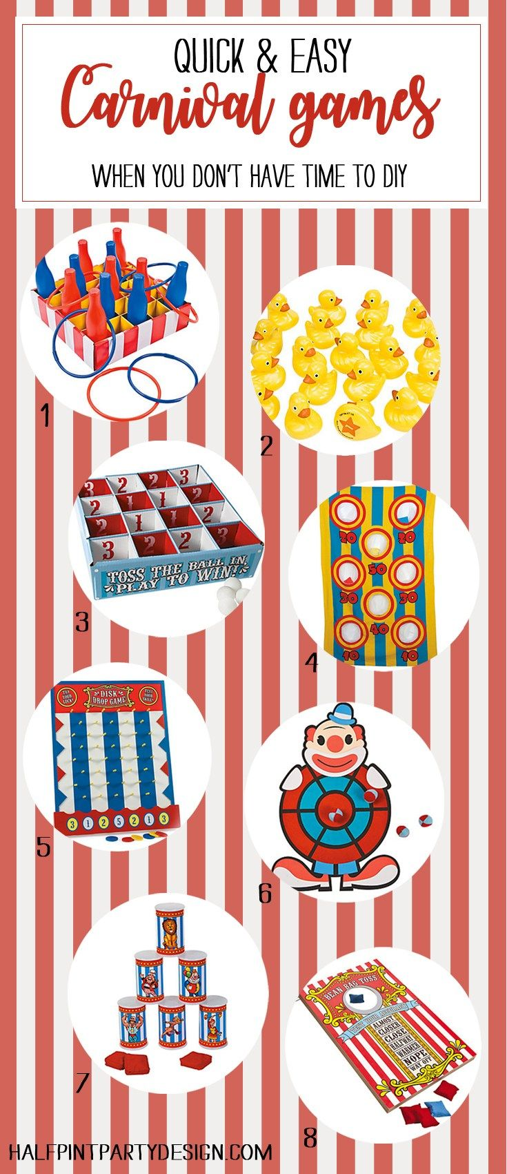 Have a PTA fundraiser coming up? Birthday party? Back to school carnival? With all the craziness that ensues here are some easy carnival games you can buy when you don't have time to DIY. Spend your time building all those booths!! - Painless Carnival Party Amusements | Halfpint Design