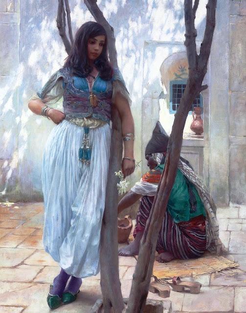 """""""In a Courtyard, Tunis"""" Ferdinand Max Bredt"""