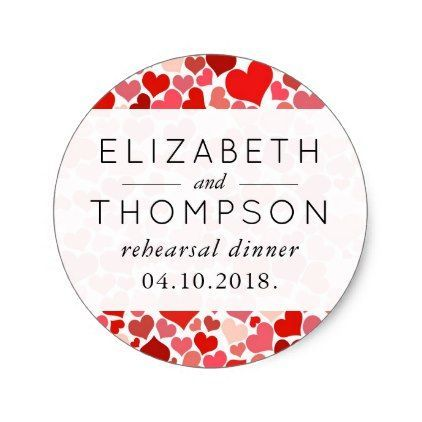 Romantic gifts 4010 pinterest rehearsal dinner love romance hearts red classic round sticker romantic wedding gifts wedding negle Images