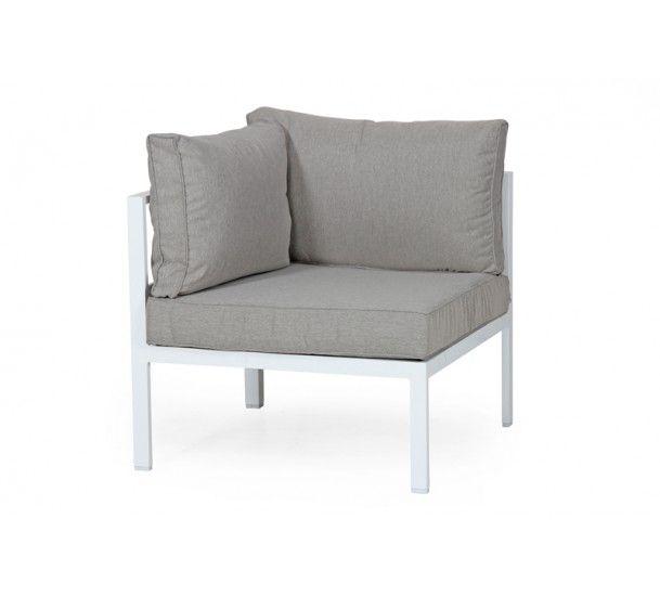 Brafab - Leone Loungesofa - Hvid/grå - hjørne - Hvid hjørnemodul i aluminium