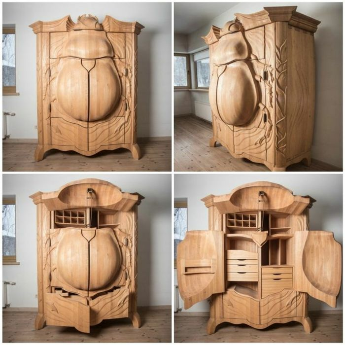 Superb wood craft cabinet bug holzschnitzerei kleiderschrank massives holz kunstwerk