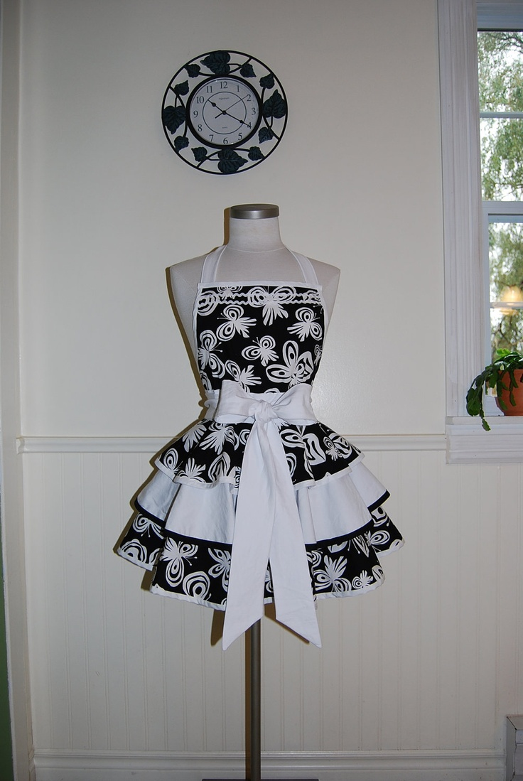 White hostess apron