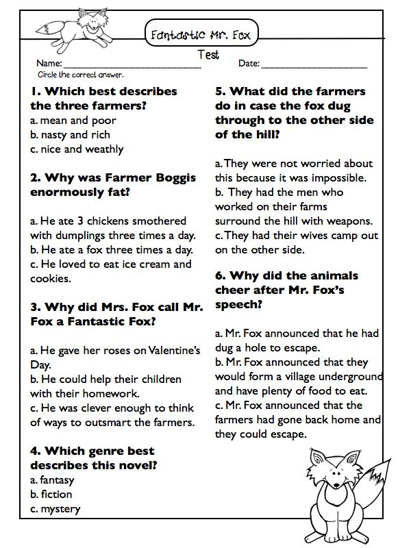 Fantastic Mr. Fox Novel Study & Test