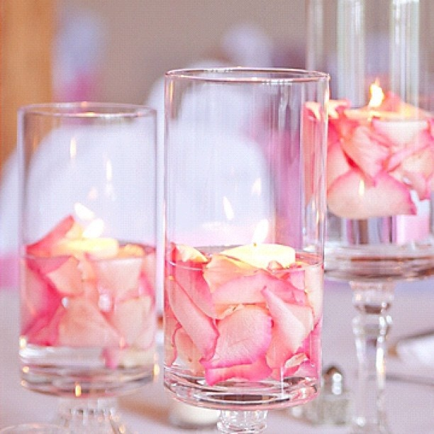 Floating Petals Centerpieces: Rose Petals And Floating Candles