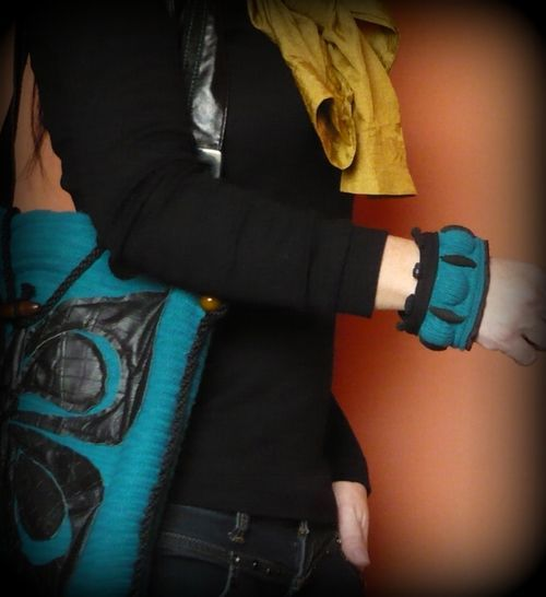 Handmade by Judy Majoros - Bubble Turquoise knitted and leather -beaded bracelet -cuff, Recycled bracelet