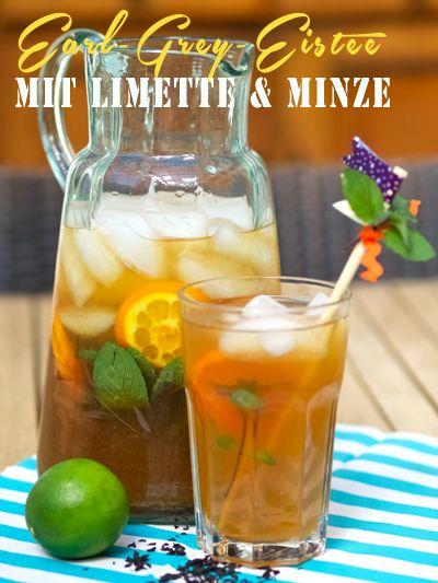 Earl-Grey-Eistee mit Limette und Minze.