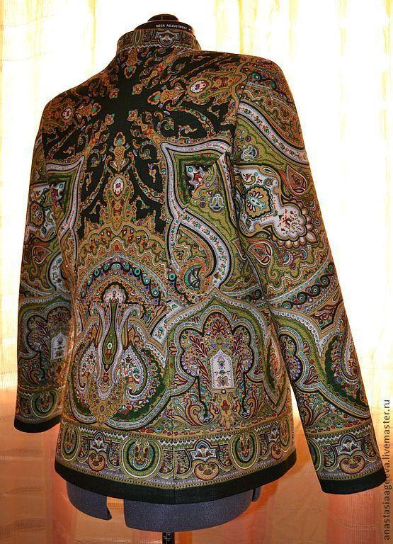"""Купить Куртка-жакет из платка """"Испанский"""". - зеленый, орнамент, одежда из платков, куртка ручной работы"""
