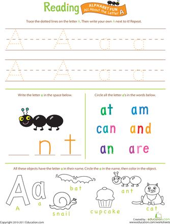 All about the letter. Worksheets for every letter. Free printables!