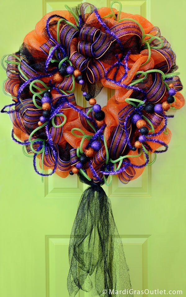 Wreath, Deco Mesh, Poly Deco Mesh, Halloween, DIY, Video Tutorial, Fall Craft, Fall Deco Mesh