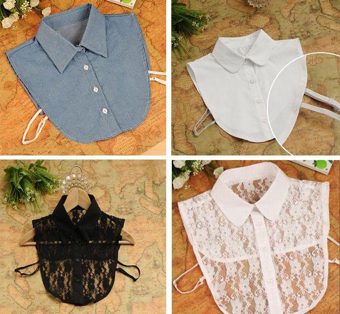 Unisex women men Cotton Detachable Lapel Shirt Fake False Collar Choker Necklace #Unbranded