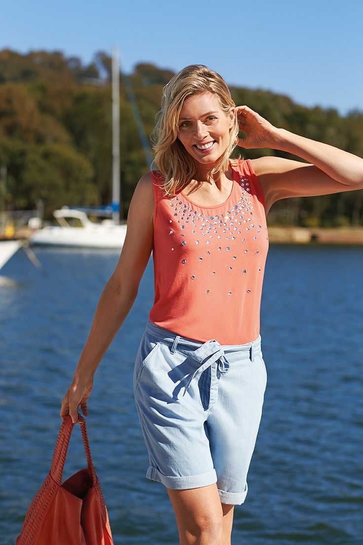 Bright corals and chambray shorts are all the trend this season!
