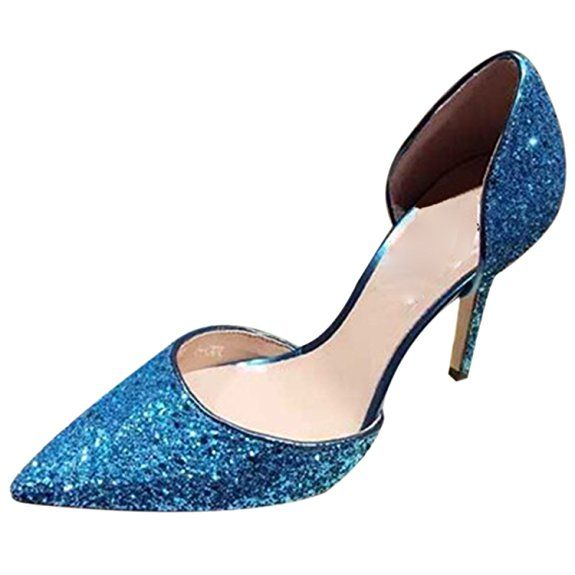 Oasap Damen Pailletten High Heels Pumps, Silber EURO41/US10/UK8: Amazon.de: Schuhe & Handtaschen