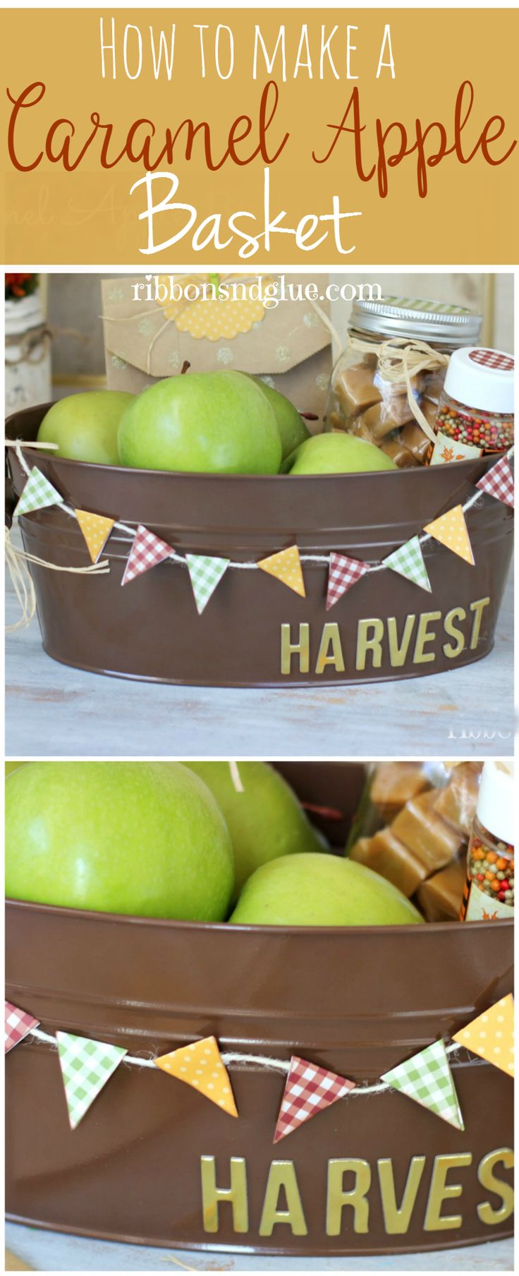This Fall Caramel Apple Gift Basket  idea contains everything you would need to make your own Fall apple basket  for friends and neighbors.