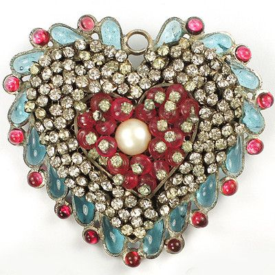 Very Vintage CHANEL Gripoix Poured Glass Heart Brooch...LOVE!