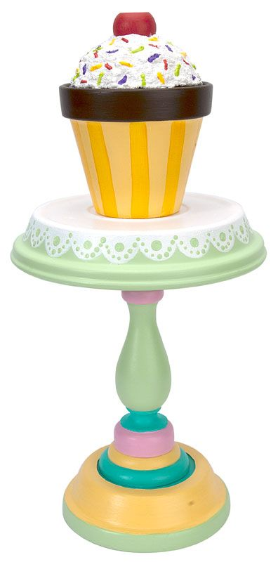 Cupcake Stand and cupcake made using terra cotta pots.