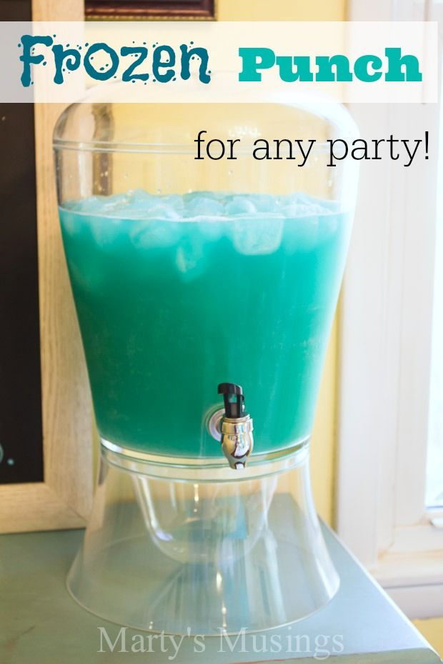 This three ingredient simple recipe for blue punch is a sure fire hit whether you're throwing a Frozen party for your kids, celebrating a birthday with friends or hosting a wedding or baby shower. Add vanilla ice cream for a true Disney Frozen party the kids will love!