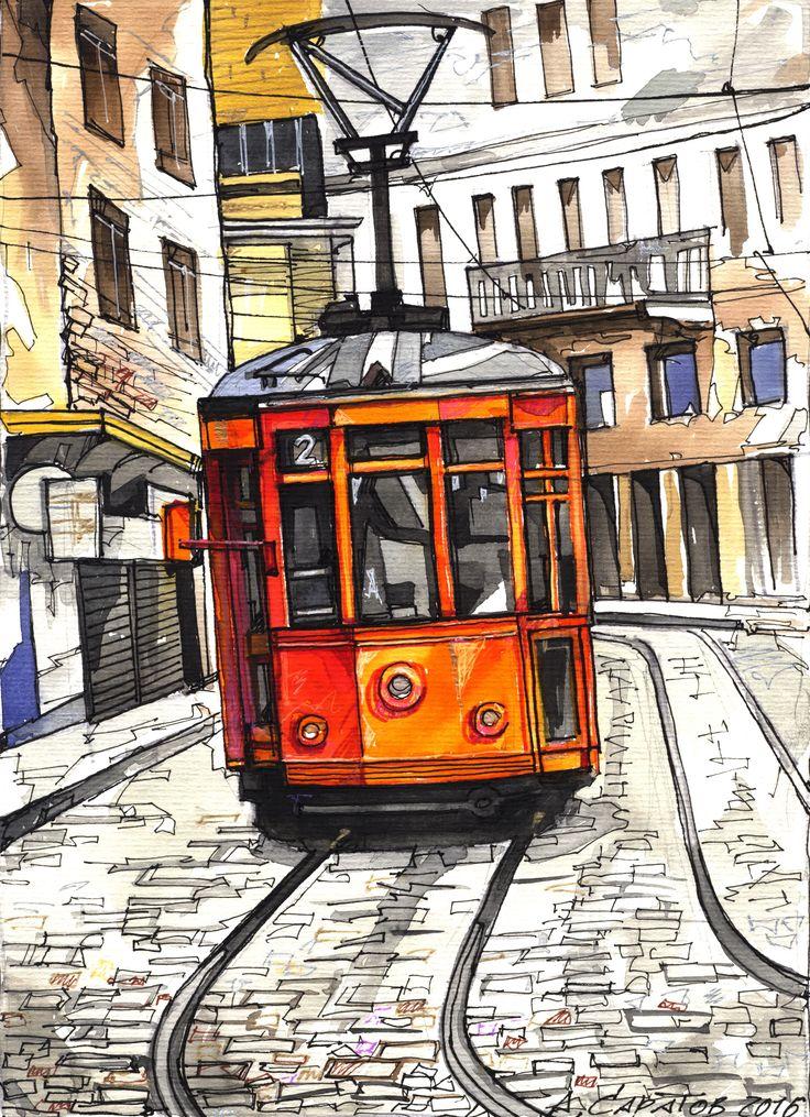Трамвай 2016 30х20 бумага , смешанная техника