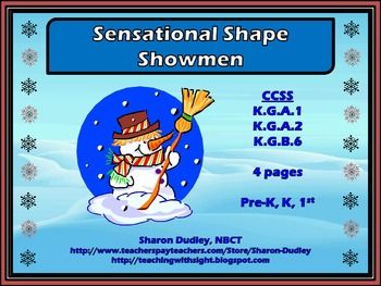 This is a set of ten unique snowmen cards, each of which has distinct shapes used for its eyes, nose, buttons, and hat. The amount of shapes used on each snowman varies, as does the type of shape.