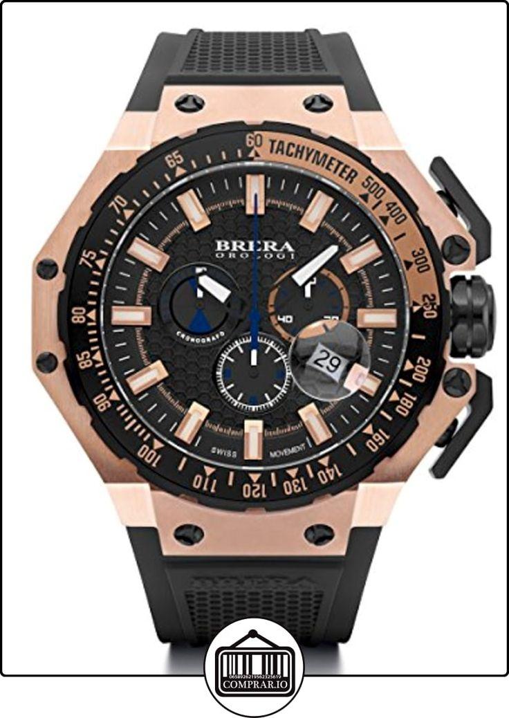 Brera Orologi brgtc5408Gran Turismo fabricado en Suiza Ronda 5030.d Reloj de tono de oro rosa correa de goma en color negro  ✿ Relojes para hombre - (Lujo) ✿ ▬► Ver oferta: http://comprar.io/goto/B00KEFKFQU