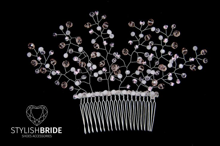 Wedding Pink Crystal Hair Comb, Hair Comb, Wedding Hair Comb, Hair Accessories, Crystal Comb, Bridal Pink Hairpiece by StylishBrideAccs on Etsy